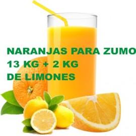 Naranjas para Zumo. Caja de 13 Kg+2Kg de Limones